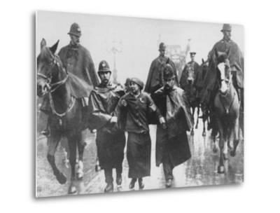 Miss Sylvia Pankhurst Taken Into Custody by Policemen During Women's Suffrage Protest--Metal Print