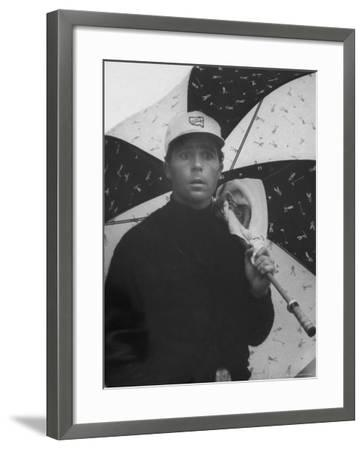 Masters Golf Tournament Winner Gary Player, Waiting for the Rain to Let Up-George Silk-Framed Premium Photographic Print