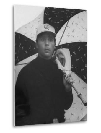 Masters Golf Tournament Winner Gary Player, Waiting for the Rain to Let Up-George Silk-Metal Print