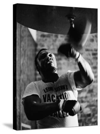 Boxing Champ Joe Frazier Working Out for His Scheduled Fight Against Muhammad Ali-John Shearer-Stretched Canvas Print
