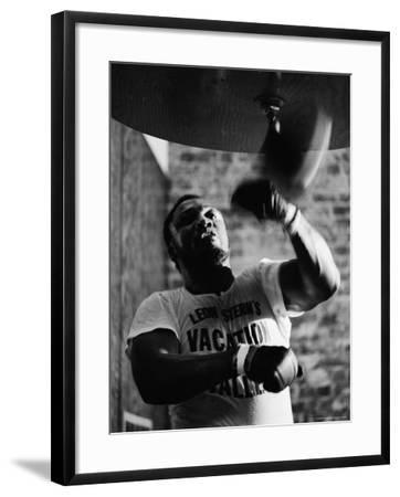 Boxing Champ Joe Frazier Working Out for His Scheduled Fight Against Muhammad Ali-John Shearer-Framed Premium Photographic Print