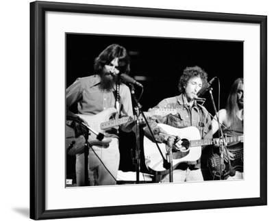 George Harrison, Bob Dylan and Leon Russell Performing for Bangladesh at Madison Square Garden-Bill Ray-Framed Premium Photographic Print