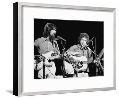 George Harrison and Bob Dylan during the Concert for Bangladesh at Madison Square Garden-Bill Ray-Framed Premium Photographic Print