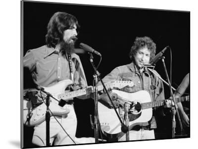 George Harrison and Bob Dylan during the Concert for Bangladesh at Madison Square Garden-Bill Ray-Mounted Premium Photographic Print
