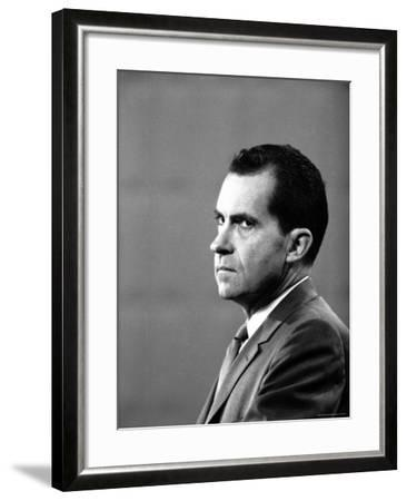 Republican Candidate Richard Nixon During Televised Debate with Democratic Candidate John F Kennedy-Paul Schutzer-Framed Photographic Print