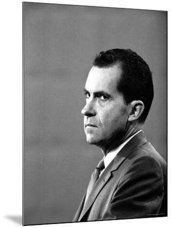 Republican Candidate Richard Nixon During Televised Debate with Democratic Candidate John F Kennedy-Paul Schutzer-Mounted Photographic Print