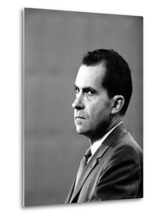 Republican Candidate Richard Nixon During Televised Debate with Democratic Candidate John F Kennedy-Paul Schutzer-Metal Print