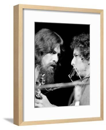 George Harrison and Bob Dylan Performing Together at Rock Concert Benefiting Bangladesh-Bill Ray-Framed Premium Photographic Print