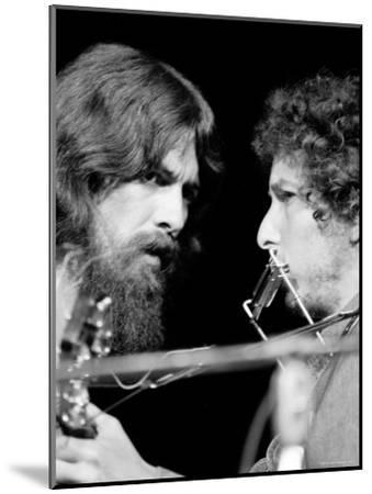 George Harrison and Bob Dylan Performing Together at Rock Concert Benefiting Bangladesh-Bill Ray-Mounted Premium Photographic Print