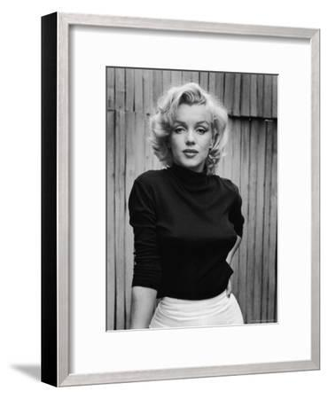 Portrait of Actress Marilyn Monroe on Patio of Her Home-Alfred Eisenstaedt-Framed Premium Photographic Print