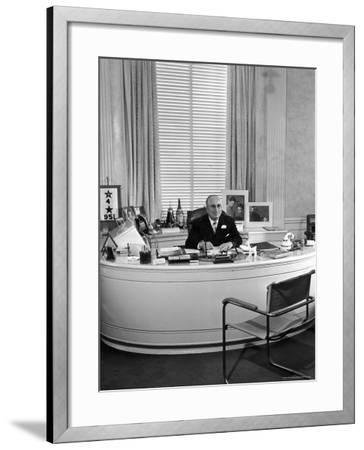 MGM Movie Mogul Louis B. Mayer, Sitting at His Desk in His Office-Walter Sanders-Framed Premium Photographic Print