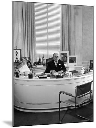 MGM Movie Mogul Louis B. Mayer, Sitting at His Desk in His Office-Walter Sanders-Mounted Premium Photographic Print