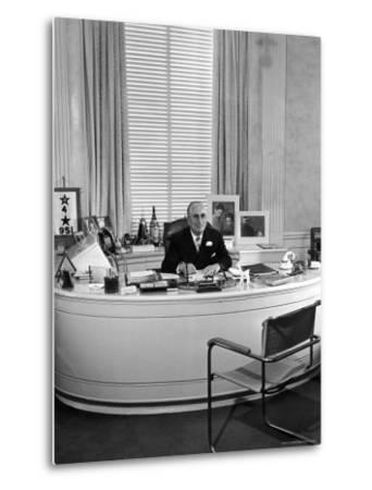 MGM Movie Mogul Louis B. Mayer, Sitting at His Desk in His Office-Walter Sanders-Metal Print