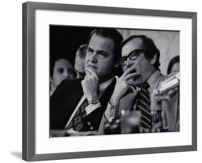 Sen. Howard Baker, Minority Counsel Fred Thompson Listening During Watergate Hearings-Gjon Mili-Framed Premium Photographic Print