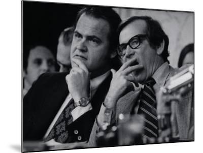 Sen. Howard Baker, Minority Counsel Fred Thompson Listening During Watergate Hearings-Gjon Mili-Mounted Premium Photographic Print