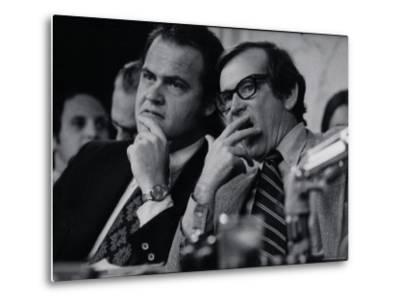 Sen. Howard Baker, Minority Counsel Fred Thompson Listening During Watergate Hearings-Gjon Mili-Metal Print