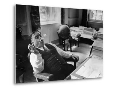 Mayor Fiorello LaGuardia Blowing Smoke Rings Sitting at Desk in His Office-William C^ Shrout-Metal Print