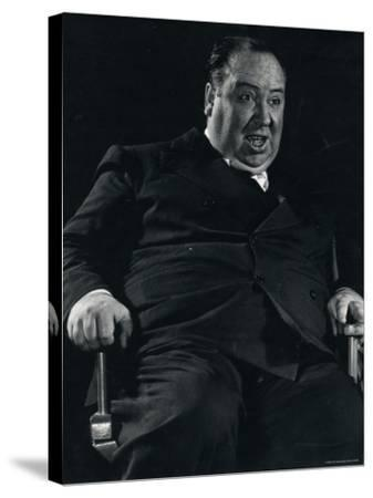 Director Alfred Hitchcock on Set of Motion Picture Shadow of a Doubt-Gjon Mili-Stretched Canvas Print