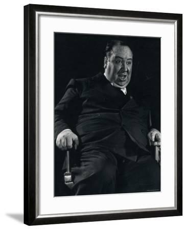 Director Alfred Hitchcock on Set of Motion Picture Shadow of a Doubt-Gjon Mili-Framed Premium Photographic Print
