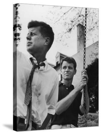Bobby Kennedy, Chief Counsel of Sen. Comm. on Labor and Management, with Bro, Ma Sen. John Kennedy-Paul Schutzer-Stretched Canvas Print