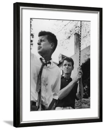 Bobby Kennedy, Chief Counsel of Sen. Comm. on Labor and Management, with Bro, Ma Sen. John Kennedy-Paul Schutzer-Framed Photographic Print