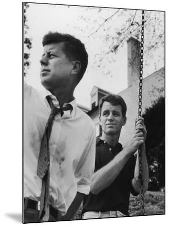 Bobby Kennedy, Chief Counsel of Sen. Comm. on Labor and Management, with Bro, Ma Sen. John Kennedy-Paul Schutzer-Mounted Photographic Print