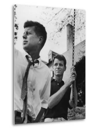 Bobby Kennedy, Chief Counsel of Sen. Comm. on Labor and Management, with Bro, Ma Sen. John Kennedy-Paul Schutzer-Metal Print