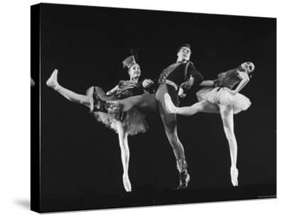 """Dancers Jacques D'Amboise and Suki Schorr in NYC Ballet Production of """"Stars and Stripes""""-Gjon Mili-Stretched Canvas Print"""