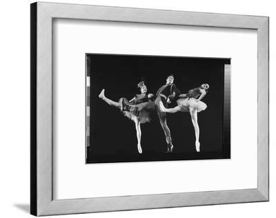 """Dancers Jacques D'Amboise and Suki Schorr in NYC Ballet Production of """"Stars and Stripes""""-Gjon Mili-Framed Premium Photographic Print"""
