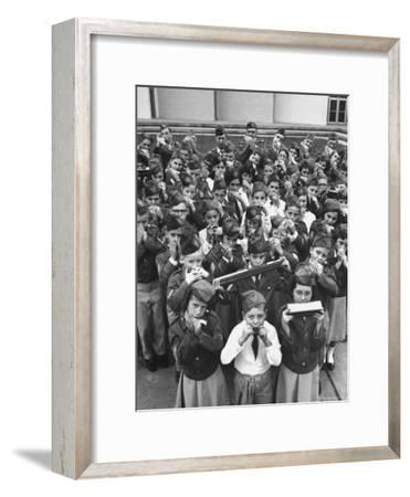Uniformed Children Who Are Members of Levittown Harmonica Band Playing Harmonicas-Peter Stackpole-Framed Photographic Print