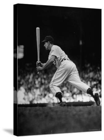 Baseball Player Johnny Groth of Detroit Tigers Getting Away from Plate After a Fast Two Base Hit-Frank Scherschel-Stretched Canvas Print