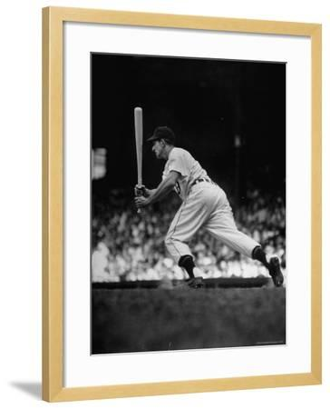 Baseball Player Johnny Groth of Detroit Tigers Getting Away from Plate After a Fast Two Base Hit-Frank Scherschel-Framed Premium Photographic Print