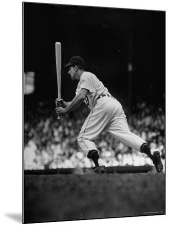 Baseball Player Johnny Groth of Detroit Tigers Getting Away from Plate After a Fast Two Base Hit-Frank Scherschel-Mounted Premium Photographic Print