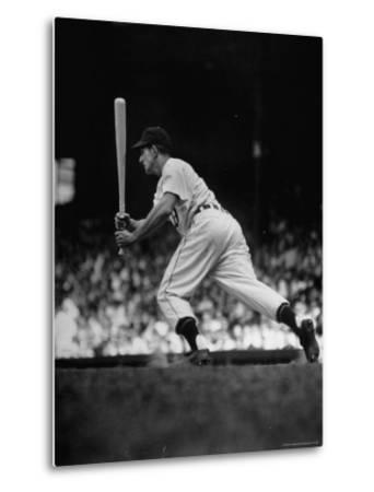 Baseball Player Johnny Groth of Detroit Tigers Getting Away from Plate After a Fast Two Base Hit-Frank Scherschel-Metal Print