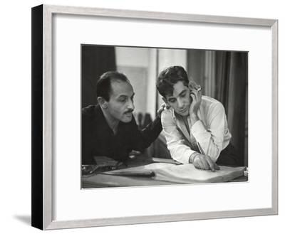 Composer Marc Blitzstein with Conductor/Composer Leonard Bernstein Studying Score of Blitzstein-W^ Eugene Smith-Framed Premium Photographic Print