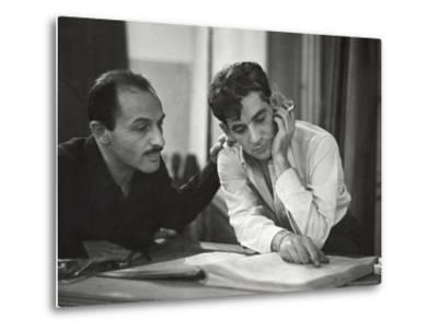 Composer Marc Blitzstein with Conductor/Composer Leonard Bernstein Studying Score of Blitzstein-W^ Eugene Smith-Metal Print