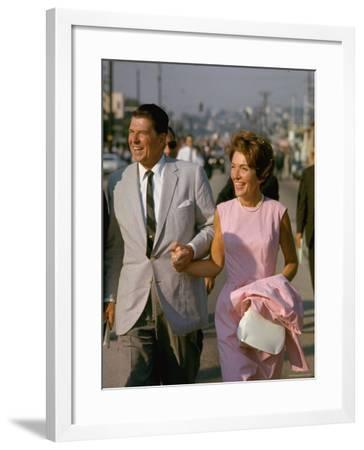 California Gubernatorial Candidate Ronald Reagan with Wife Nancy While on the Campaign Trail-Bill Ray-Framed Photographic Print