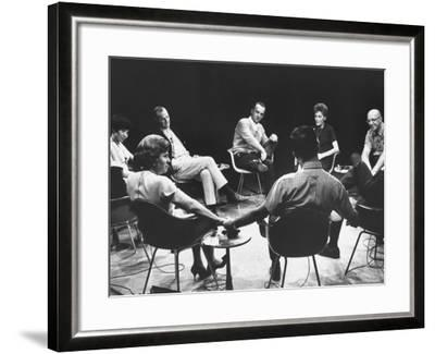 Dr. Carl Rogers During Group Therapy Session-Michael Rougier-Framed Premium Photographic Print