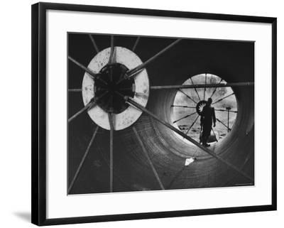 Part of 108 Inch Pipe That Will Be Used to Divert Water from the Jordan River to Negev Desert-Paul Schutzer-Framed Photographic Print