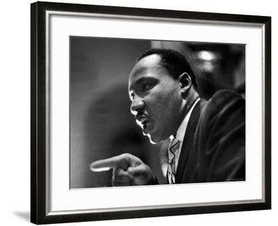 Rev. Martin Luther King Jr. Speaking in First Baptist Church at Rally for Freedom Riders-Paul Schutzer-Framed Premium Photographic Print
