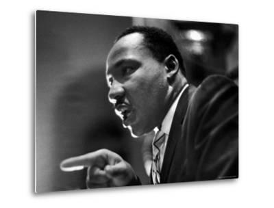 Rev. Martin Luther King Jr. Speaking in First Baptist Church at Rally for Freedom Riders-Paul Schutzer-Metal Print