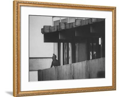Masked Black September Arab Terrorist Looking from Balcony of Athletes Housing Complex-Co Rentmeester-Framed Photographic Print