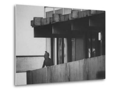 Masked Black September Arab Terrorist Looking from Balcony of Athletes Housing Complex-Co Rentmeester-Metal Print