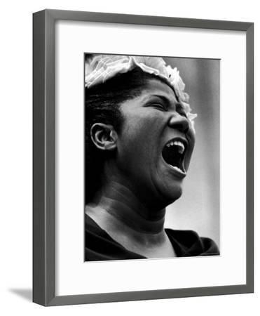 Gospel Singer Mahalia Jackson Singing at 'Prayer Pilgrimage for Freedom'-Paul Schutzer-Framed Premium Photographic Print