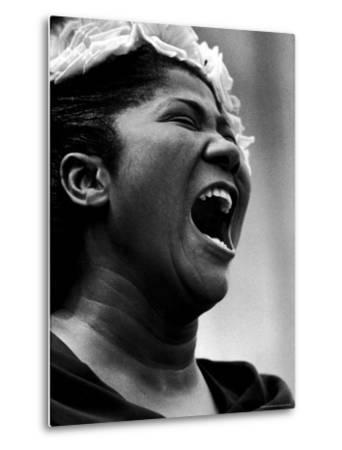 Gospel Singer Mahalia Jackson Singing at 'Prayer Pilgrimage for Freedom'-Paul Schutzer-Metal Print