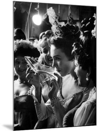 Julie Andrews Taking a Sip from the Glass Slipper During the TV Production of Cinderella-Gordon Parks-Mounted Premium Photographic Print