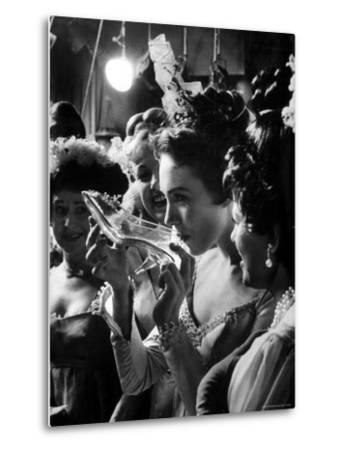 Julie Andrews Taking a Sip from the Glass Slipper During the TV Production of Cinderella-Gordon Parks-Metal Print