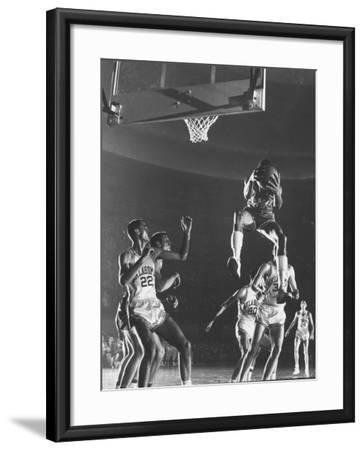 University of Kansas Basketball Star Wilt Chamberlain Playing in a Game-George Silk-Framed Premium Photographic Print