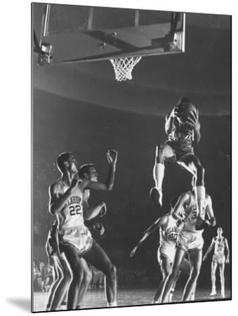 University of Kansas Basketball Star Wilt Chamberlain Playing in a Game-George Silk-Mounted Premium Photographic Print