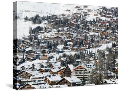 Ski Resort Chalets, Verbier, Valais, Wallis, Switzerland-Walter Bibikow-Stretched Canvas Print